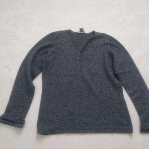 Ann Taylor knit cashmere metallic ruffle sleeve